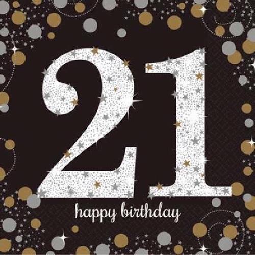 21st Birthday Gold Sparkles Napkins