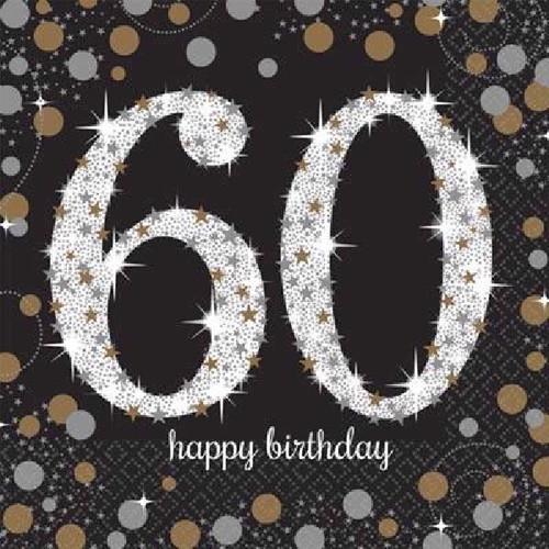 60th Birthday Gold Sparkles Napkins