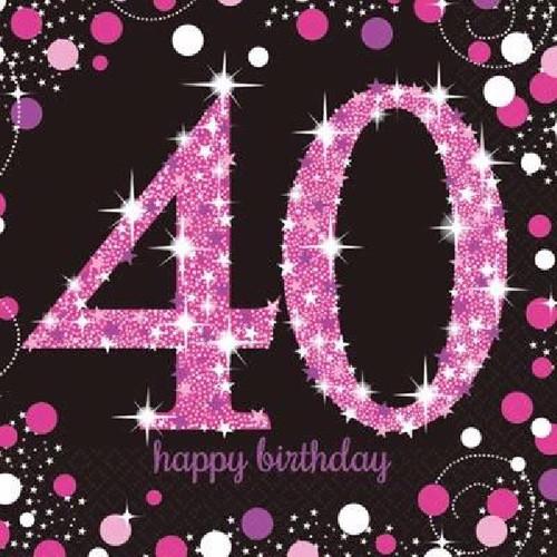 40th Birthday Pink Sparkles Napkins