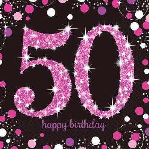 50th Birthday Pink Sparkles Napkins