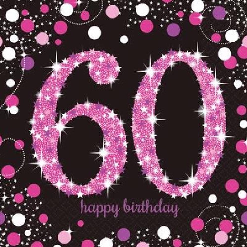 60th Birthday Pink Sparkles Napkins
