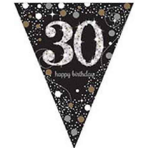 30th Birthday Gold Sparkles Pennant Banner