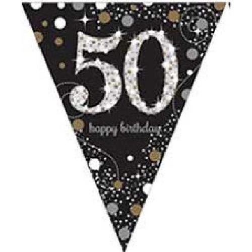 50th Birthday Gold Sparkles Pennant Banner