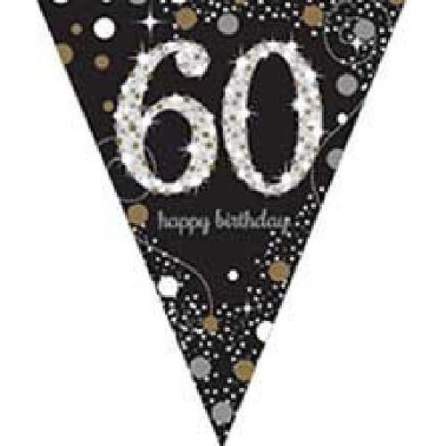 60th Birthday Gold Sparkles Pennant Banner