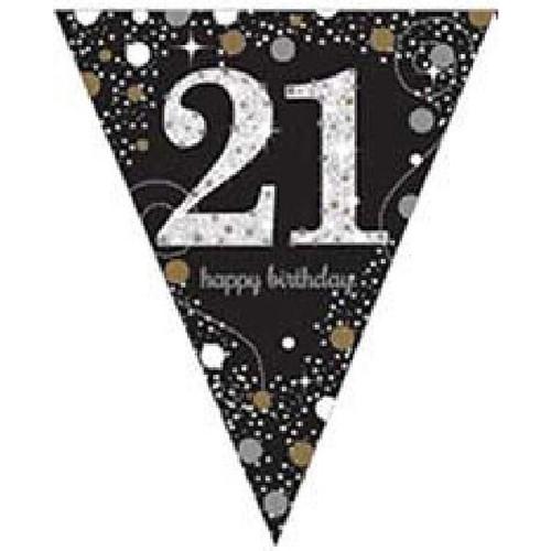 21st Birthday Gold Sparkles Pennant Banner