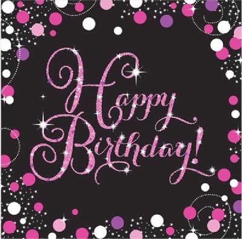 Happy Birthday Pink Sparkles Napkins
