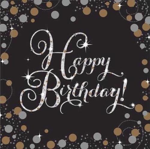 Happy Birthday Gold Sparkles Napkins