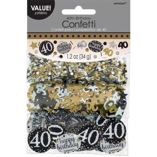 40th Birthday Gold Sparkles Confetti