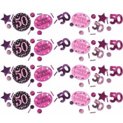 50th Birthday Pink Sparkles Confetti