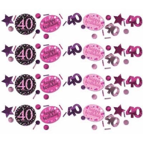 40th Birthday Pink Sparkles Confetti