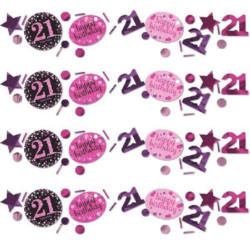 21st Birthday Pink Sparkles Confetti