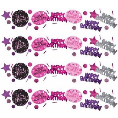 Happy Birthday Pink Sparkles Confetti