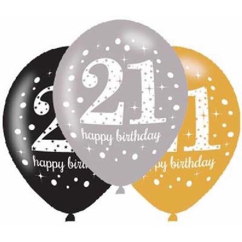 21st 6pk Gold Sparkles Balloons