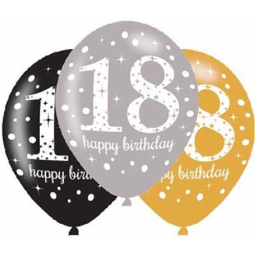 18th 6pk Gold Sparkles Balloons