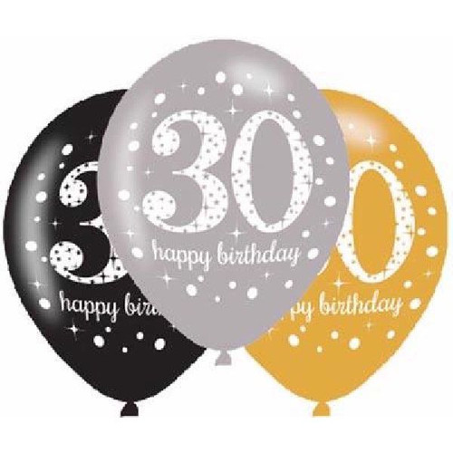 30th 6pk Gold Sparkles Balloons