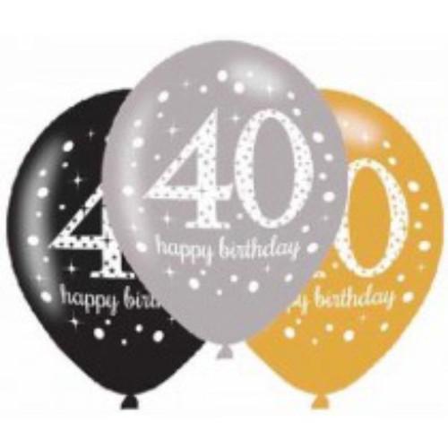 40th 6pk Gold Sparkles Balloons