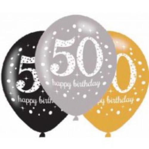 50th 6pk Gold Sparkles Balloons