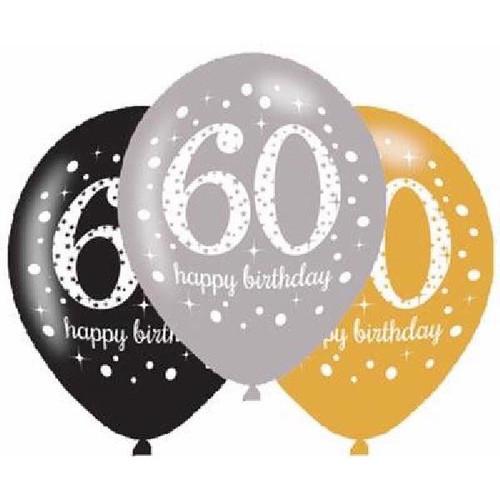 60th 6pk Gold Sparkles Balloons