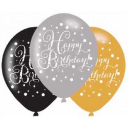 Happy Birthday 6pk Gold Sparkles Balloons