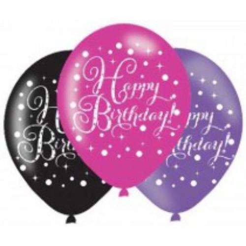 Happy Birthday 6pk Pink Sparkles Balloons