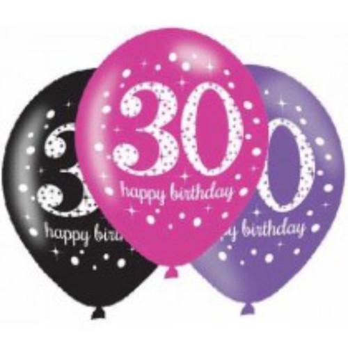 30th 6pk Pink Sparkles Balloons