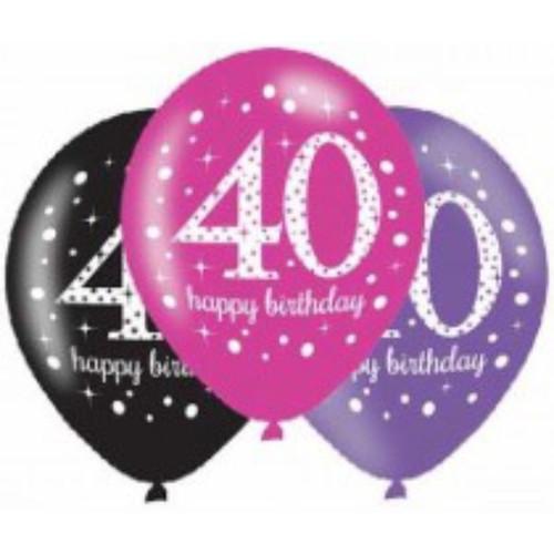 40th 6pk Pink Sparkles Balloons