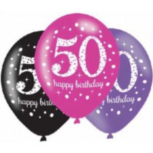 50th 6pk Pink Sparkles Balloons