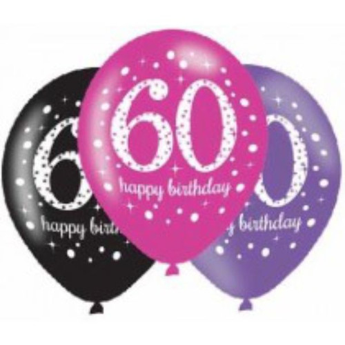60th 6pk Pink Sparkles Balloons