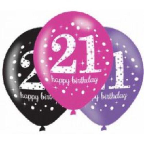 21st 6pk Pink Sparkles Balloons