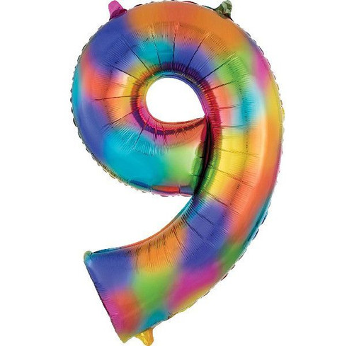 Rainbow Splash Number 9 Jumbo Foil Balloon