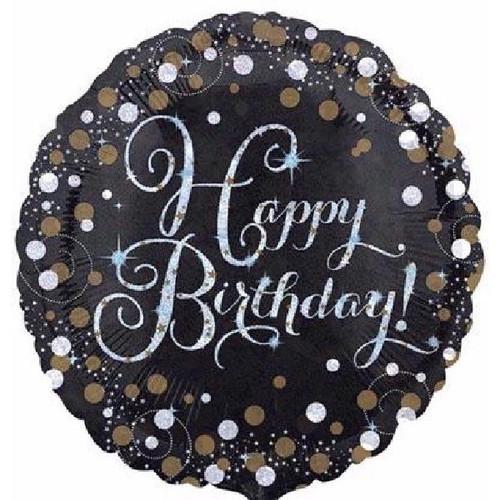 Happy Birthday Gold Sparkles 18 Inch Foil Balloon