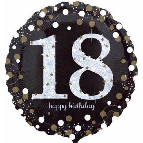 18th Gold Sparkles 18 Inch Foil Balloon