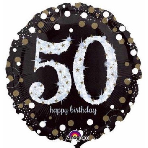 50th Gold Sparkles 18 Inch Foil Balloon