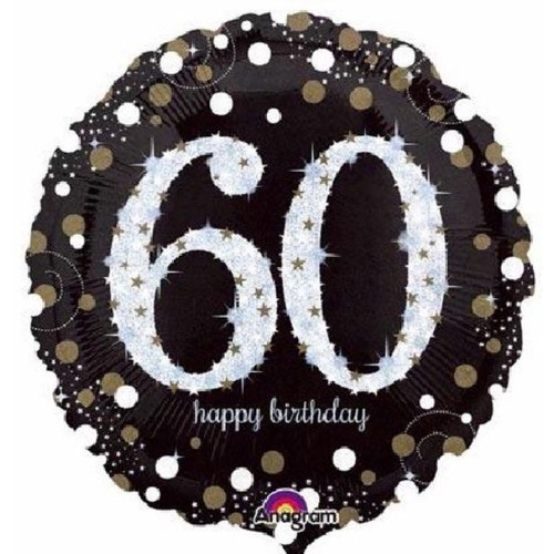 60th Gold Sparkles 18 Inch Foil Balloon