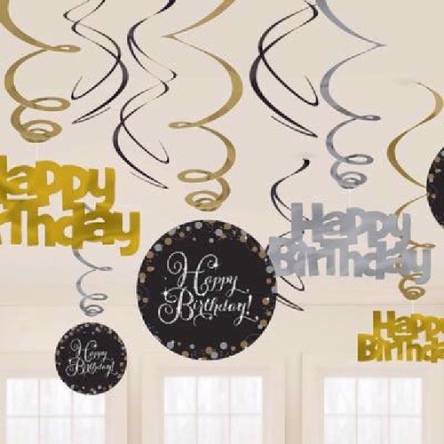 HB Gold Sparkles Hanging Swirls
