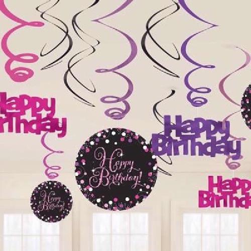 HB Pink Sparkles Hanging Swirls