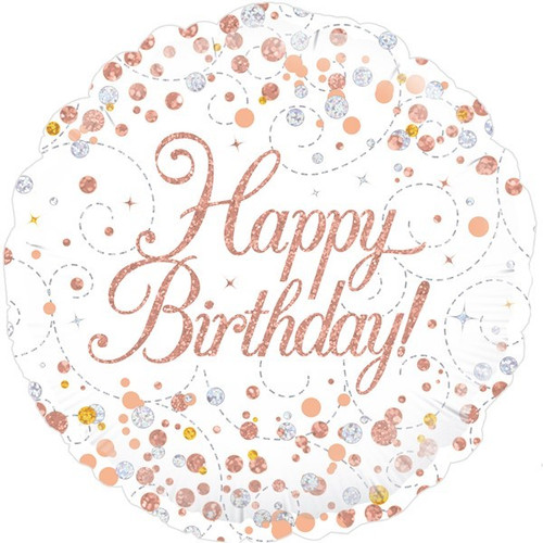 Happy Birthday White & Rose Gold 18 Inch Foil Balloon