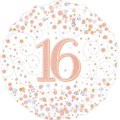 16th White & Rose Gold 18 Inch Foil Balloon