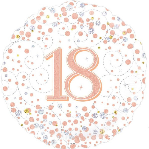 18th White & Rose Gold 18 Inch Foil Balloon