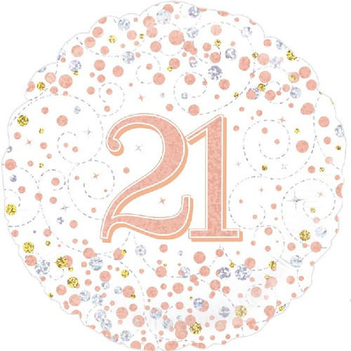 21st White & Rose Gold 18 Inch Foil Balloon