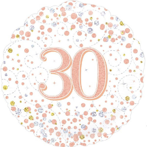 30th White & Rose Gold 18 Inch Foil Balloon