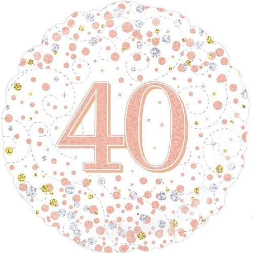 40th White & Rose Gold 18 Inch Foil Balloon