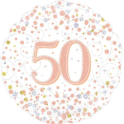 50th White & Rose Gold 18 Inch Foil Balloon