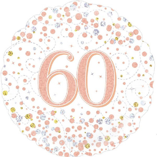 60th White & Rose Gold 18 Inch Foil Balloon