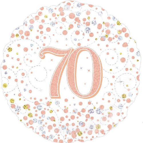 70th White & Rose Gold 18 Inch Foil Balloon