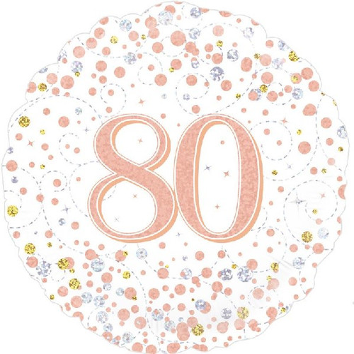 80th White & Rose Gold 18 Inch Foil Balloon