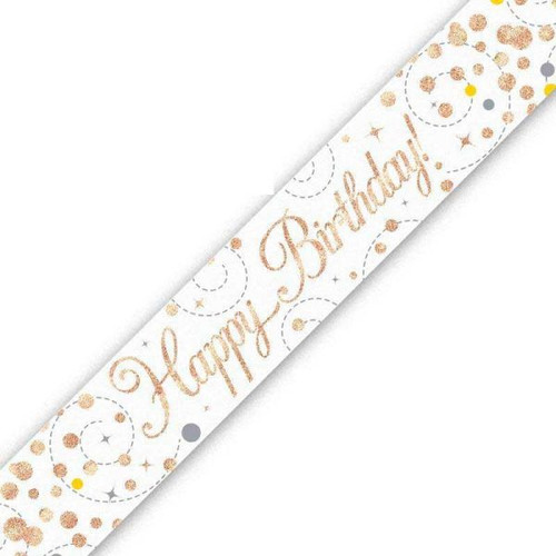 Happy Birthday White & Rose Gold 9ft Wall Banner