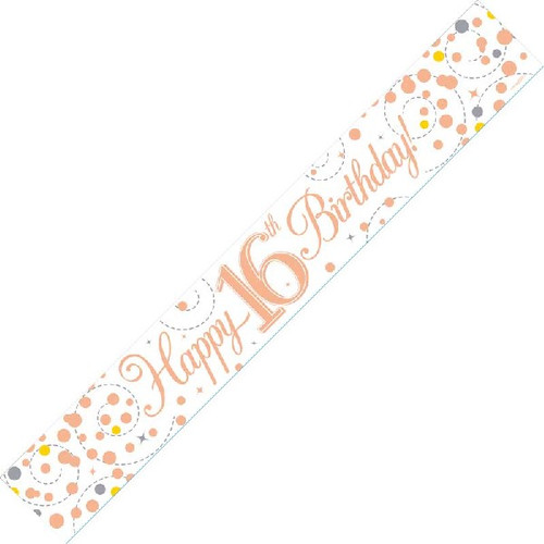 16th Birthday White & Rose Gold 9ft Wall Banner