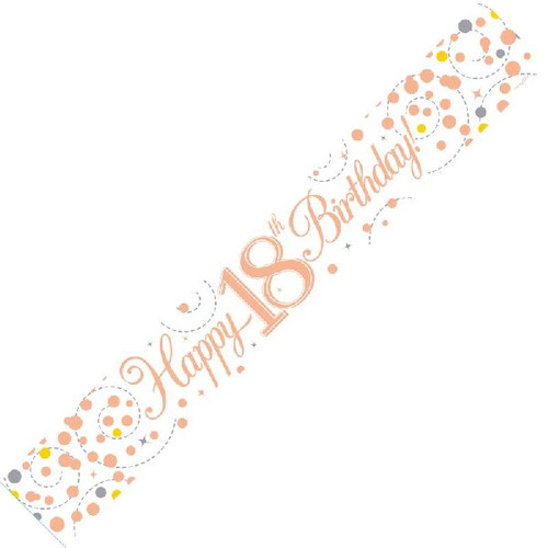 18th Birthday White & Rose Gold 9ft Wall Banner