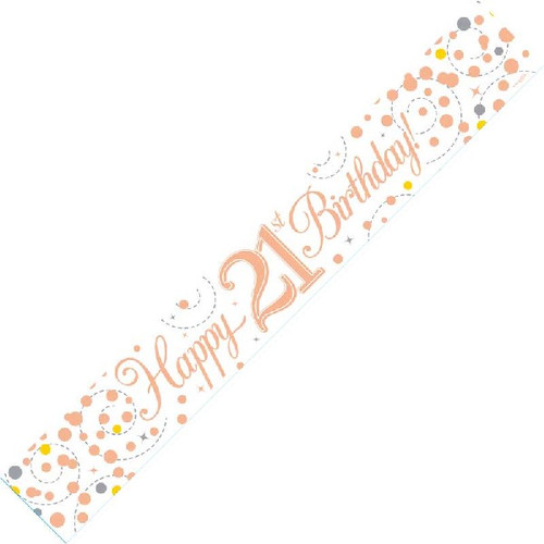 21st Birthday White & Rose Gold 9ft Wall Banner